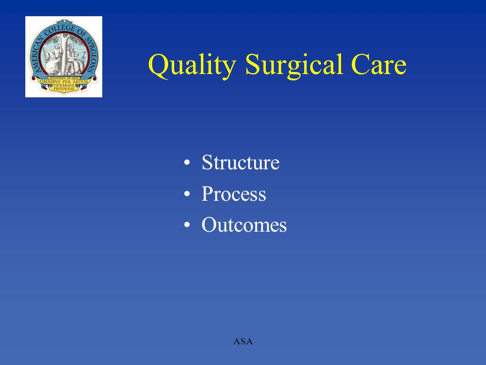 Quality Surgical Care Structure Process Outcomes ASA