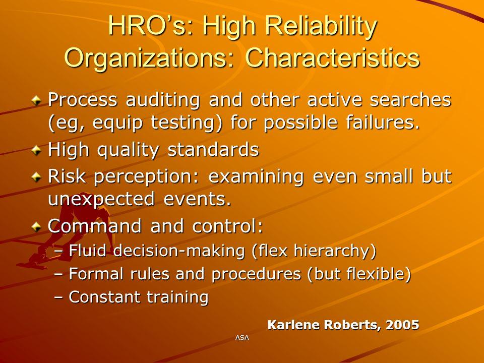 HRO's: High Reliability Organizations: Characteristics