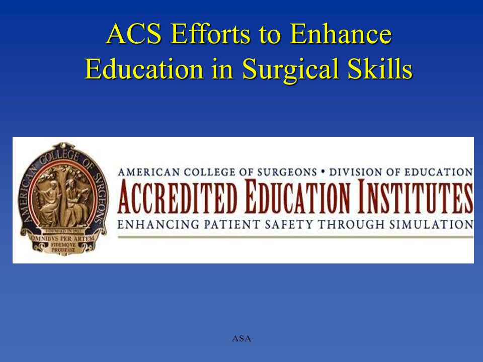 ACS Efforts to Enhance Education in Surgical Skills
