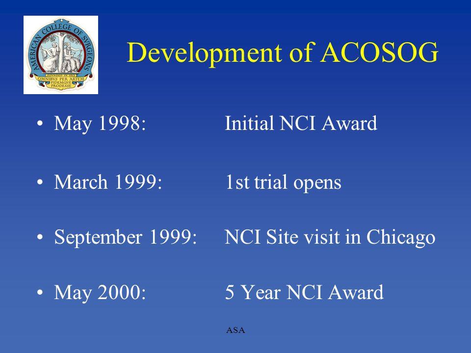 Development of ACOSOG May 1998: Initial NCI Award