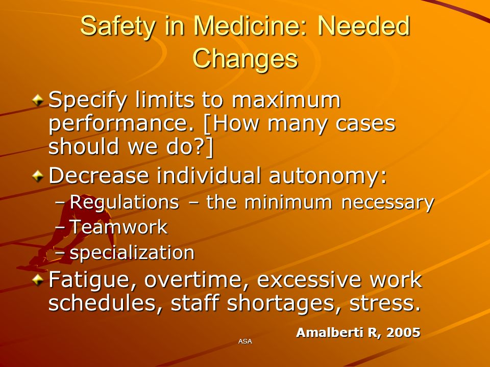 Safety in Medicine: Needed Changes