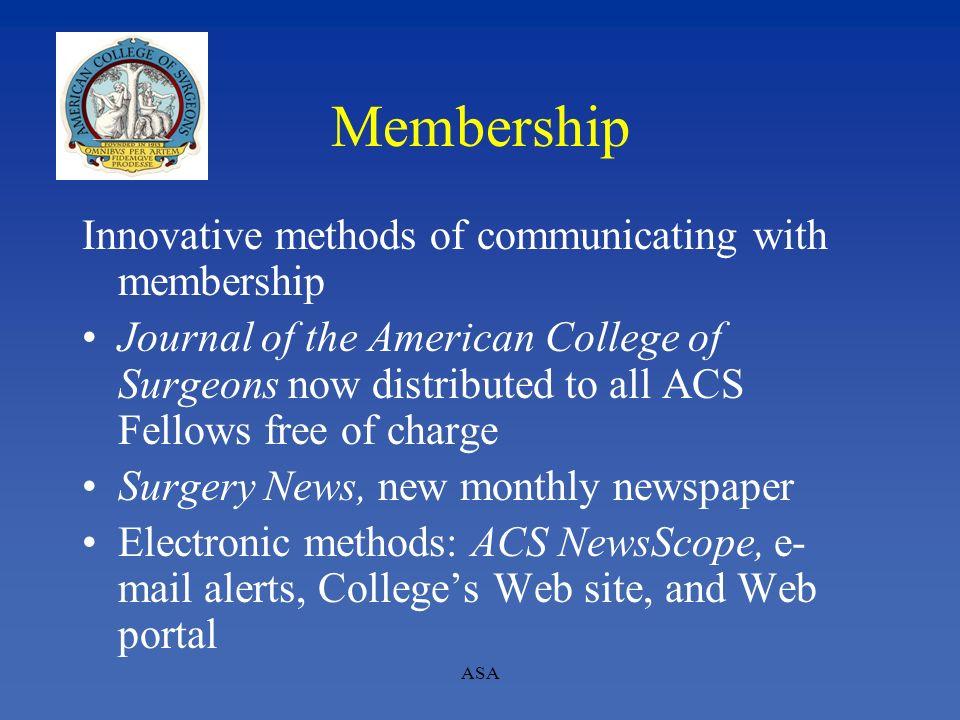 Membership Innovative methods of communicating with membership