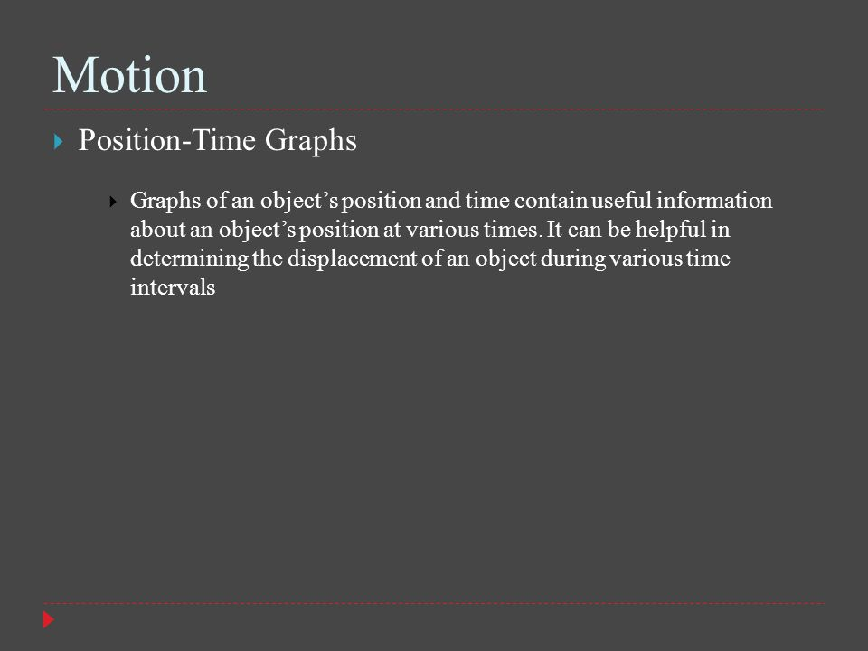 Motion Position-Time Graphs