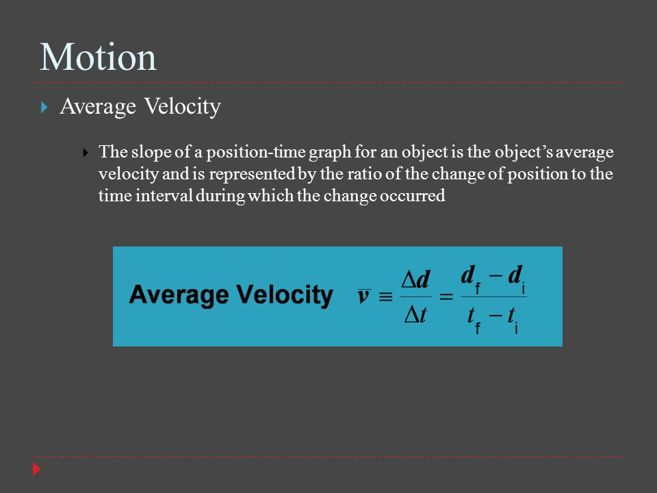 Motion Average Velocity