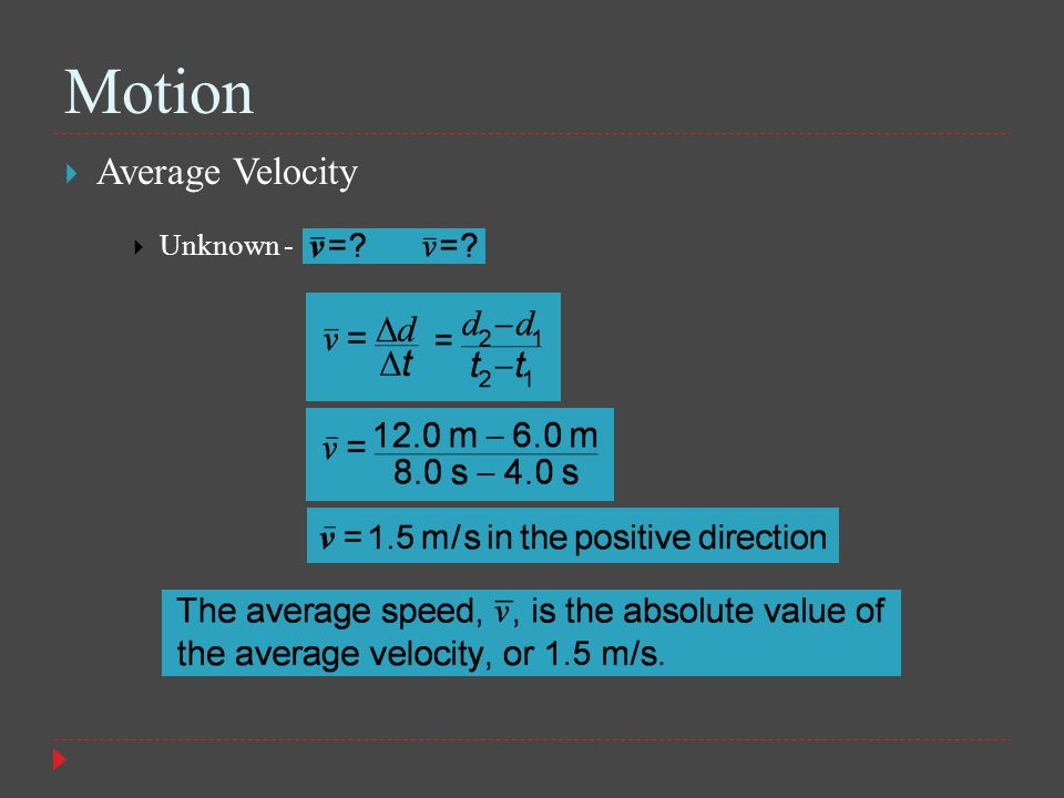 Motion Average Velocity Unknown -