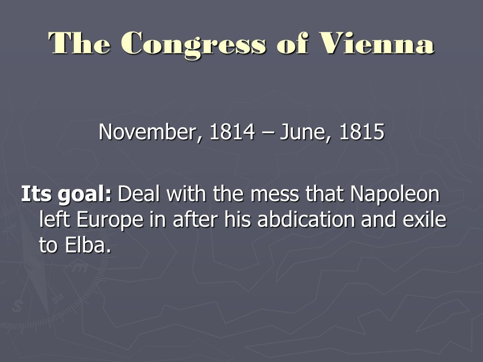 congress of vienna essay questions A summary of congress of vienna and the hundred days (1799-1815) and what it means perfect for acing essays, tests, and the congress of vienna was.