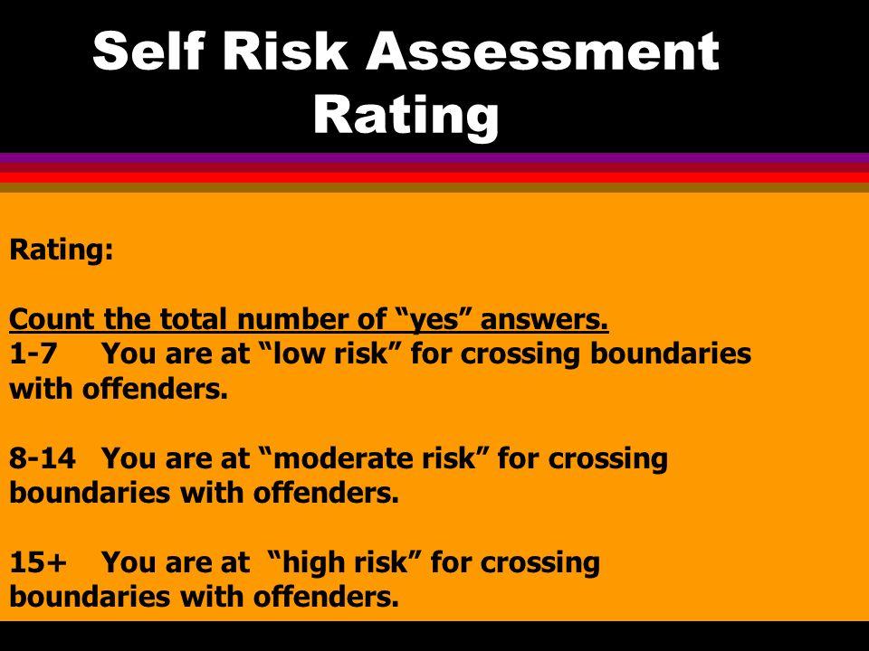 Self Risk Assessment Rating