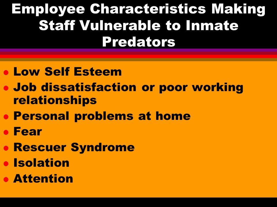 Employee Characteristics Making Staff Vulnerable to Inmate Predators