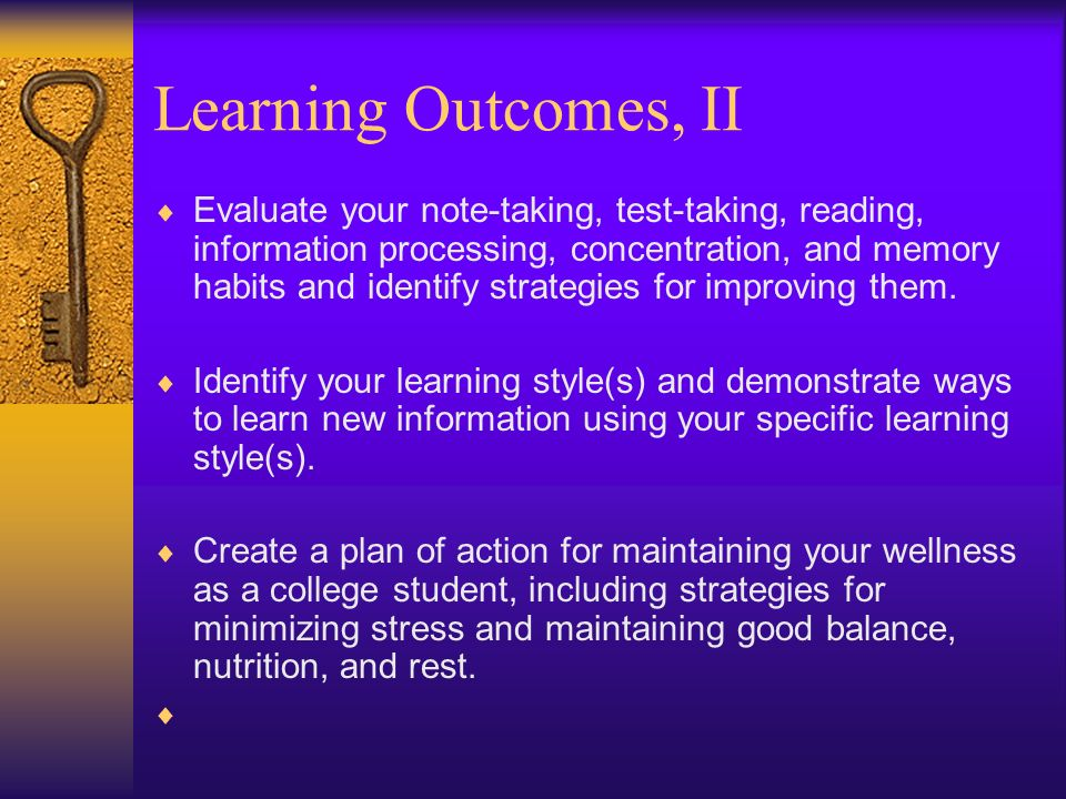 Learning Outcomes, II
