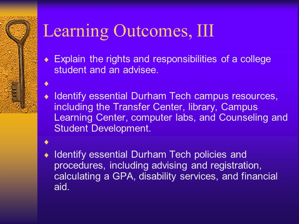 Learning Outcomes, III Explain the rights and responsibilities of a college student and an advisee.