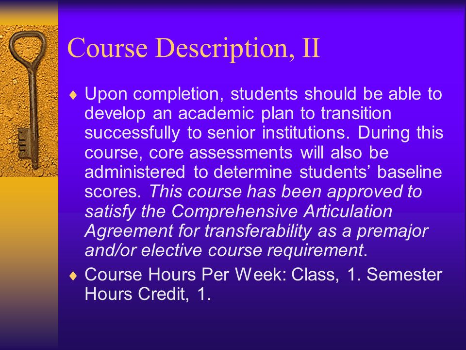 Course Description, II