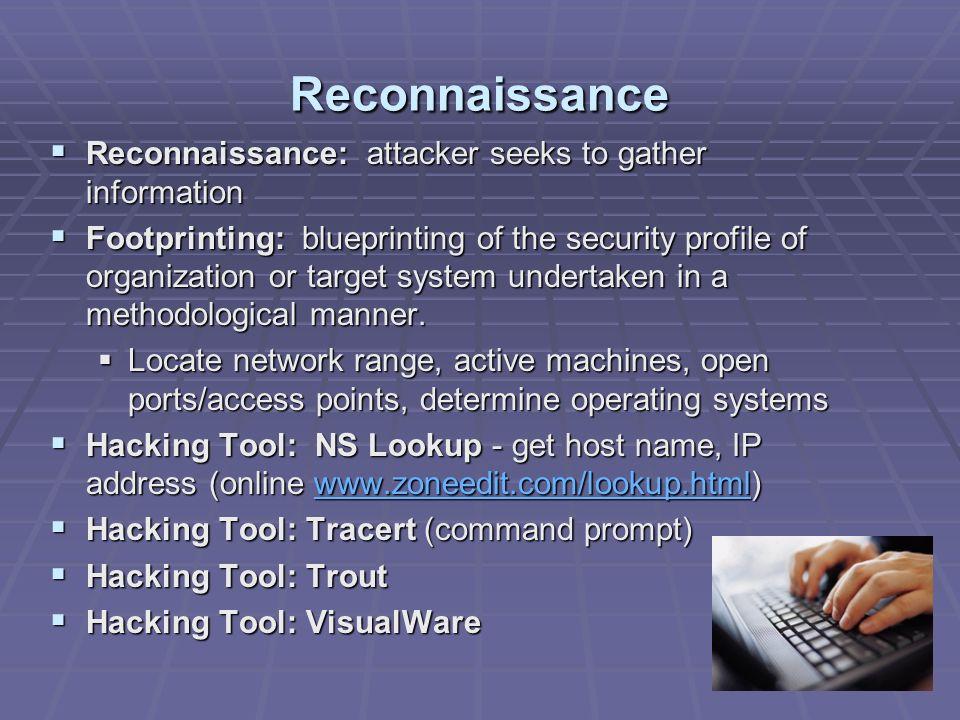 Reconnaissance Reconnaissance: attacker seeks to gather information