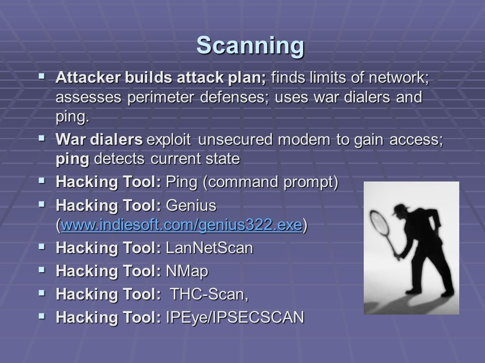 Scanning Attacker builds attack plan; finds limits of network; assesses perimeter defenses; uses war dialers and ping.