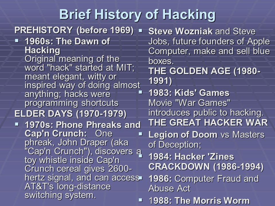 Brief History of Hacking