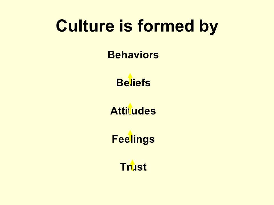Culture is formed by Behaviors Beliefs Attitudes Feelings Trust
