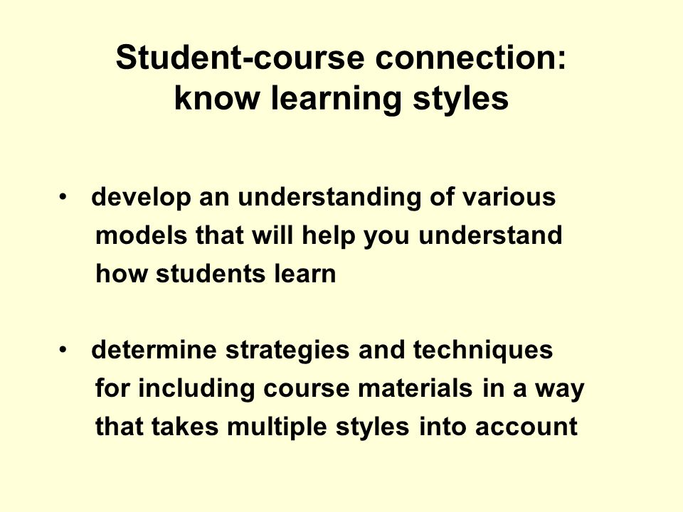 Student-course connection: know learning styles