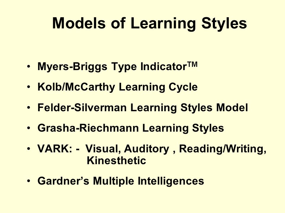 Models of Learning Styles
