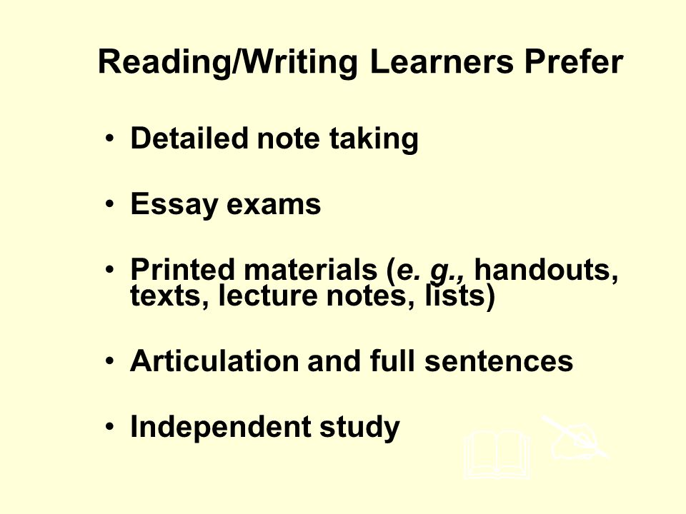 Reading/Writing Learners Prefer