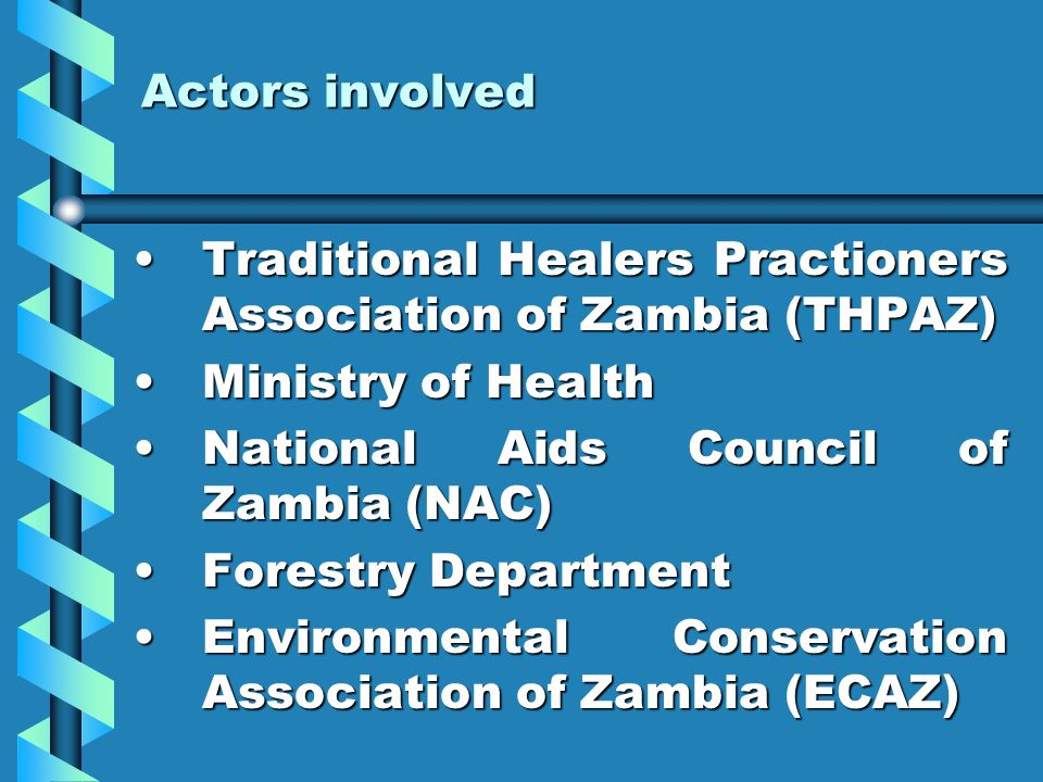 Actors involved Traditional Healers Practioners Association of Zambia (THPAZ) Ministry of Health. National Aids Council of Zambia (NAC)