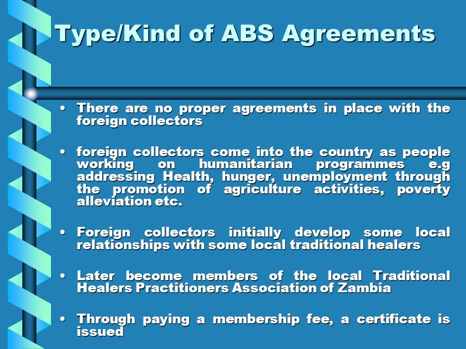 Type/Kind of ABS Agreements