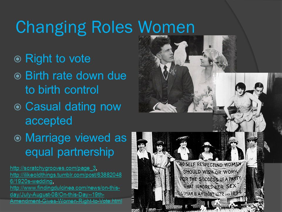 the changing roles of women in Starting in 1815, american society began to change drastically this was due to two very important events happening: the revolution of industry and the.