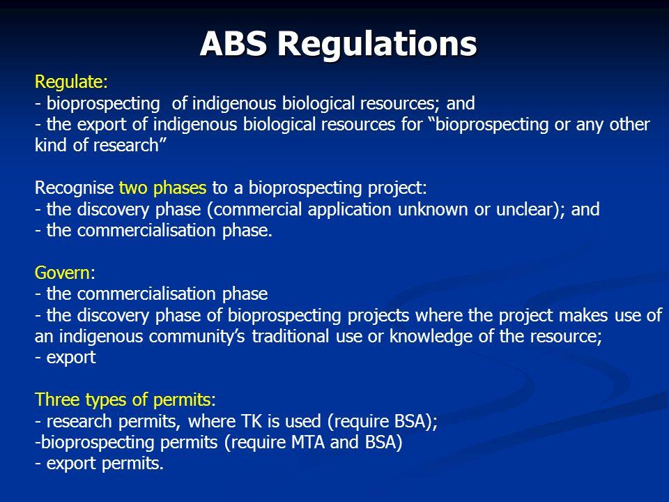 ABS Regulations Regulate: