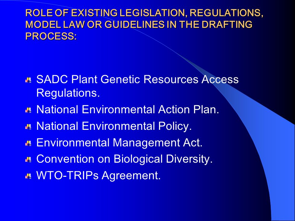 SADC Plant Genetic Resources Access Regulations.