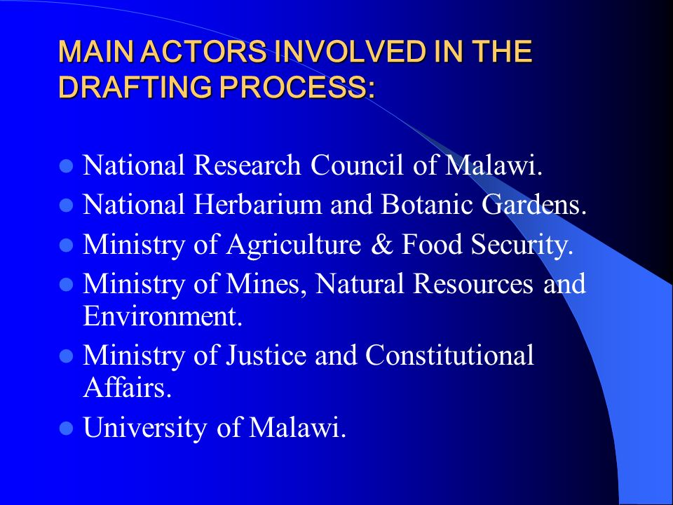 MAIN ACTORS INVOLVED IN THE DRAFTING PROCESS:
