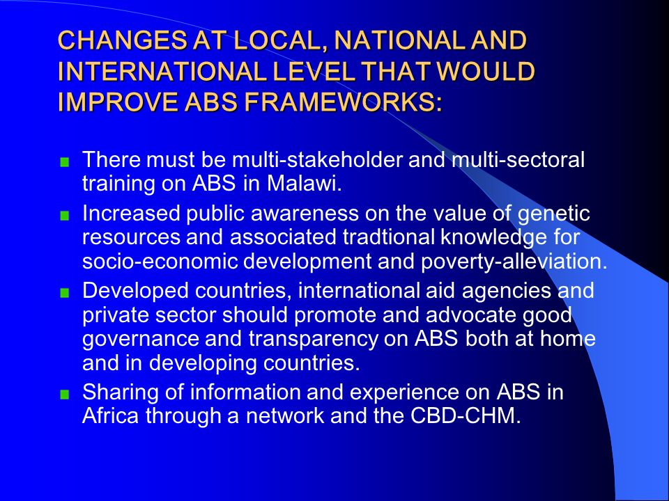 CHANGES AT LOCAL, NATIONAL AND INTERNATIONAL LEVEL THAT WOULD IMPROVE ABS FRAMEWORKS: