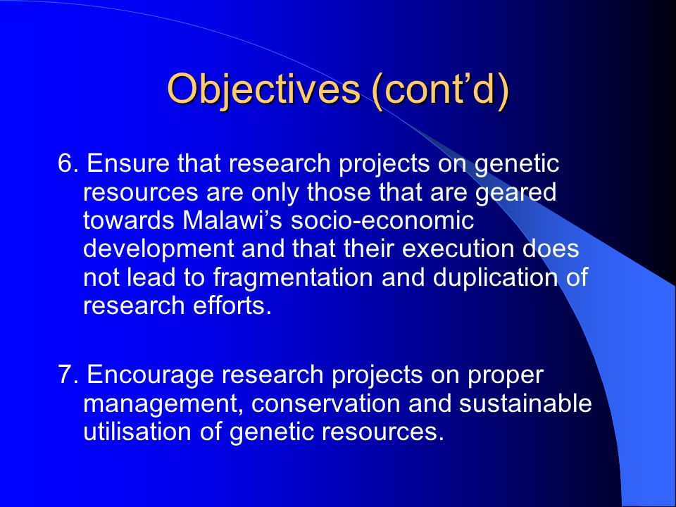 Objectives (cont'd)