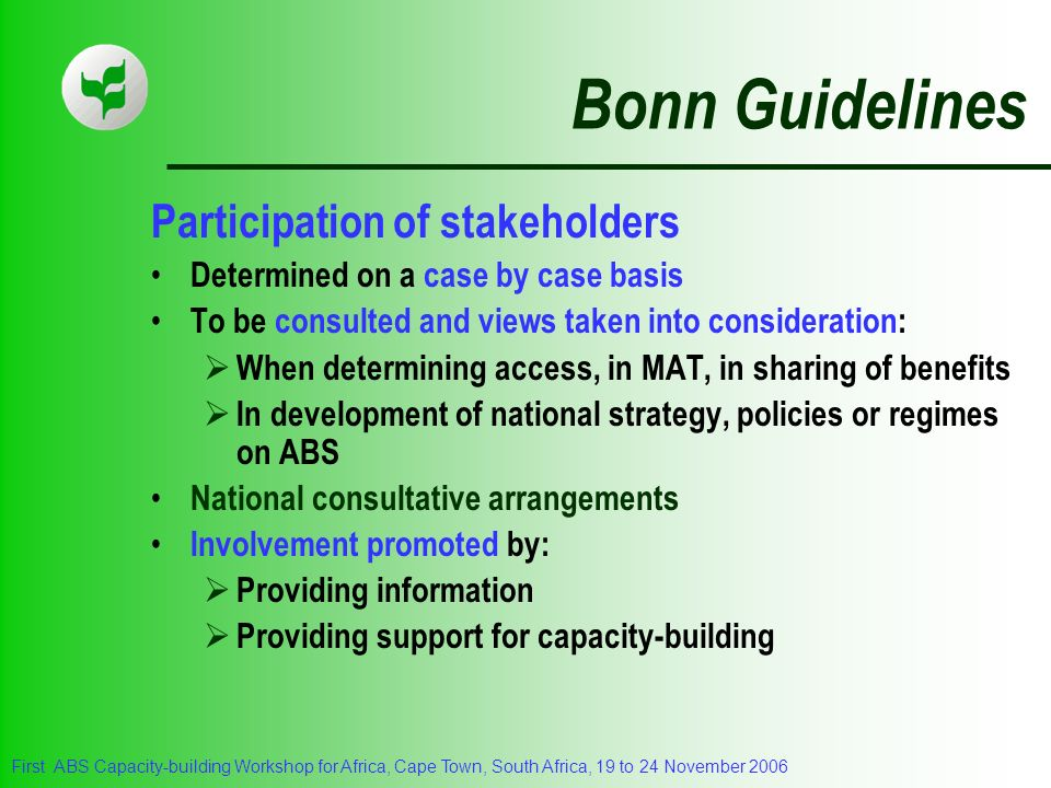 Bonn Guidelines Participation of stakeholders