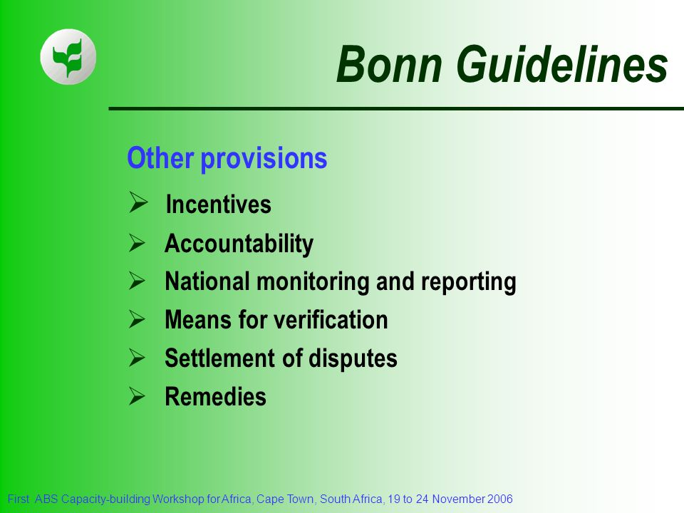 Bonn Guidelines Other provisions Incentives Accountability