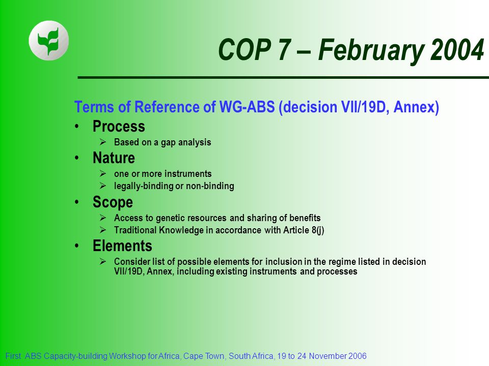 COP 7 – February 2004 Terms of Reference of WG-ABS (decision VII/19D, Annex) Process. Based on a gap analysis.