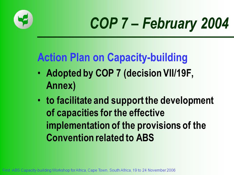 COP 7 – February 2004 Action Plan on Capacity-building