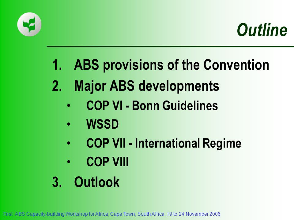Outline ABS provisions of the Convention 2. Major ABS developments