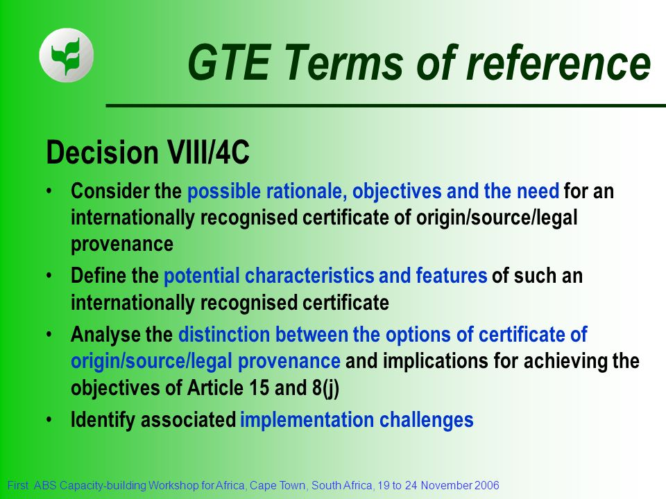 GTE Terms of reference Decision VIII/4C