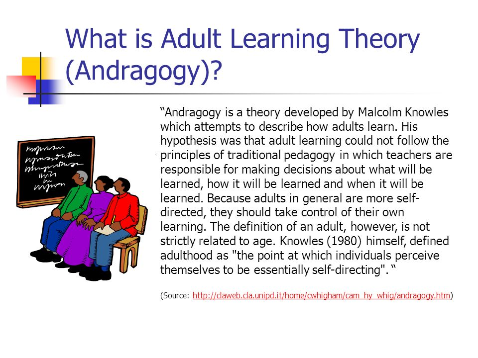 adult learning and the theory of andragogy Conception of adult leaming known as andragogy has evolved  research and  serves as the bedrock of adult learning theory (knowles, 1998) these.