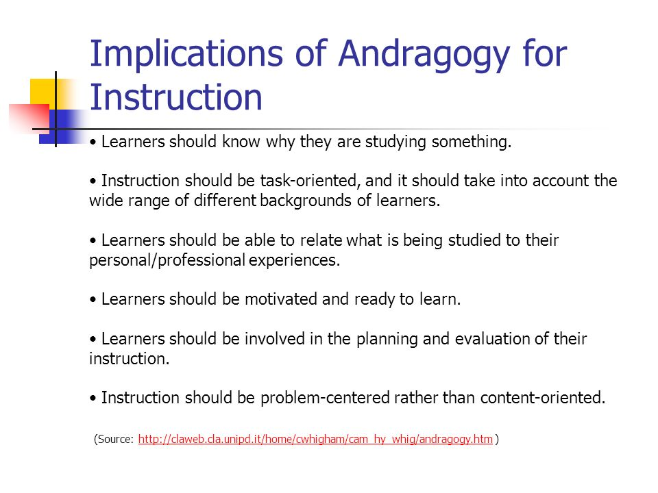 Implications of Andragogy for Instruction