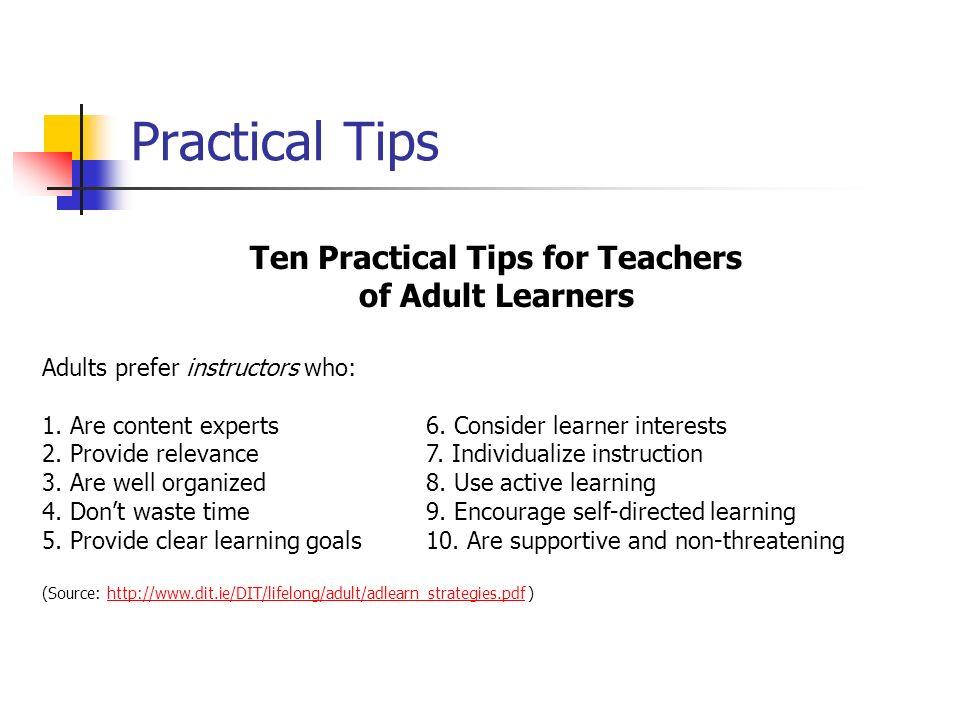 Ten Practical Tips for Teachers