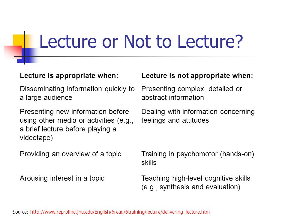 Lecture or Not to Lecture