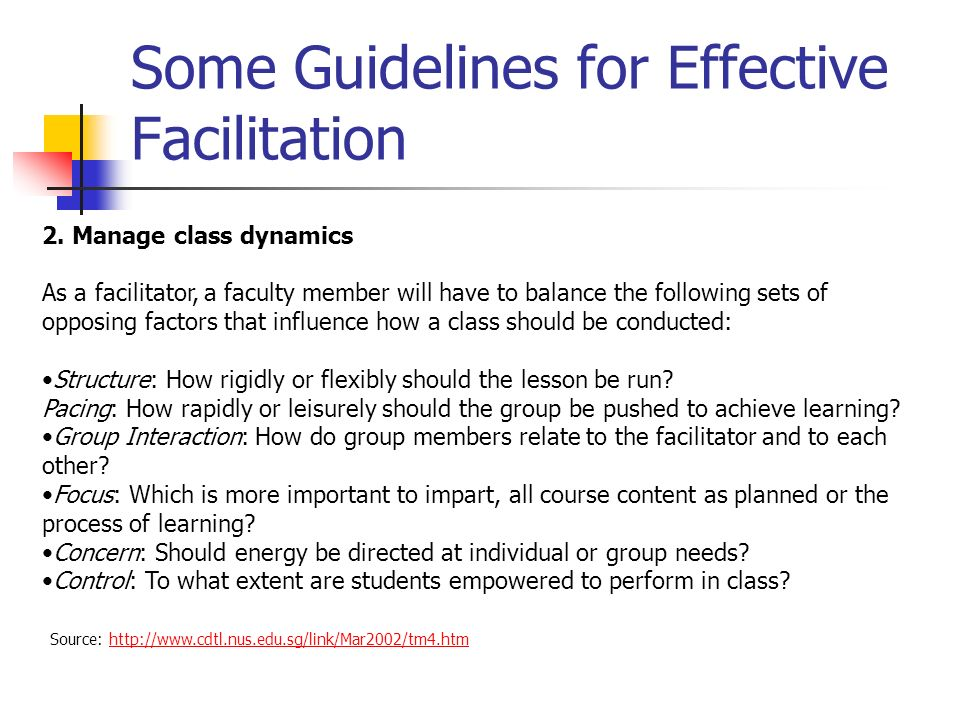 Some Guidelines for Effective Facilitation