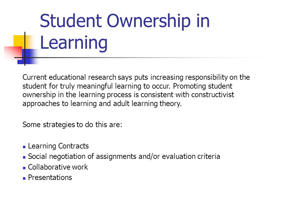 Student Ownership in Learning