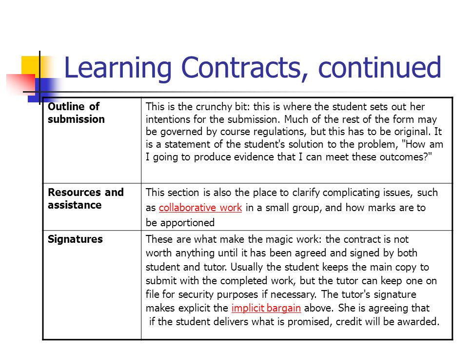 Learning Contracts, continued