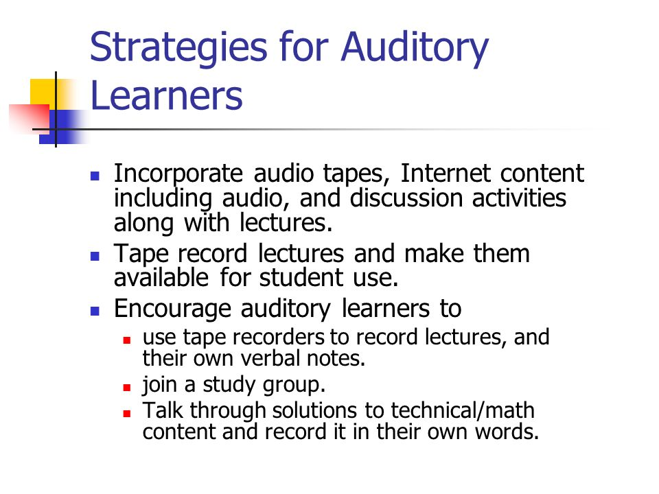 Strategies for Auditory Learners