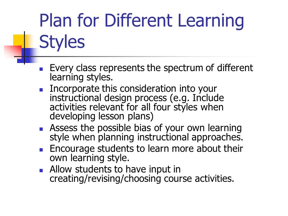 Plan for Different Learning Styles
