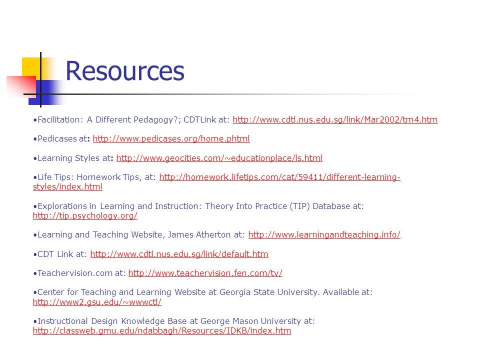 Resources Facilitation: A Different Pedagogy ; CDTLink at: http://www.cdtl.nus.edu.sg/link/Mar2002/tm4.htm.