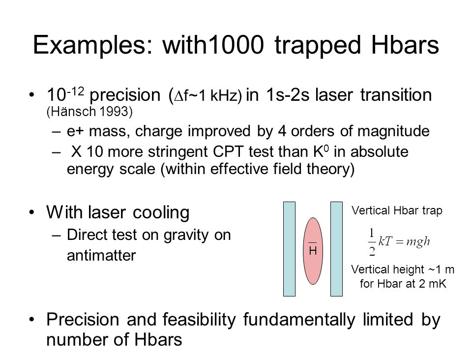 Examples: with1000 trapped Hbars