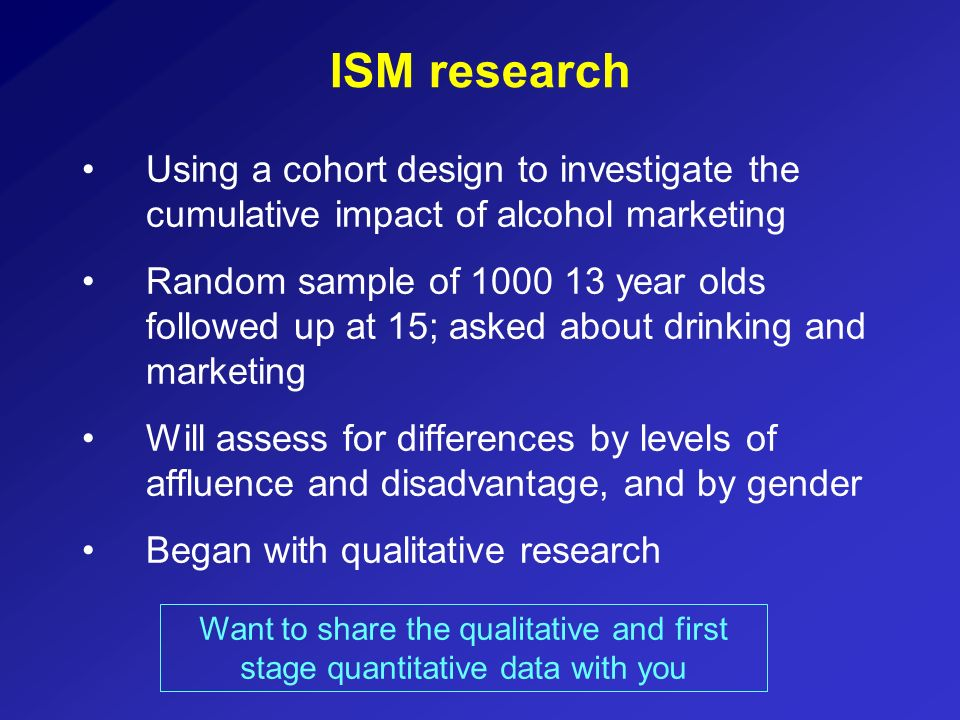 ISM researchUsing a cohort design to investigate the cumulative impact of alcohol marketing.