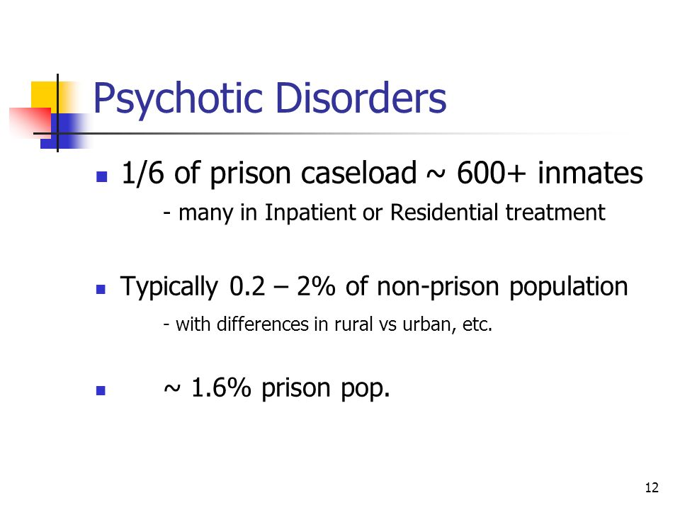 Psychotic Disorders 1/6 of prison caseload ~ 600+ inmates - many in Inpatient or Residential treatment.