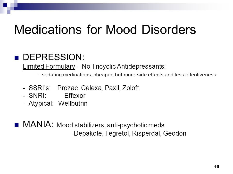 Medications for Mood Disorders